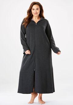 Hooded Fleece Robe , HEATHER CHARCOAL