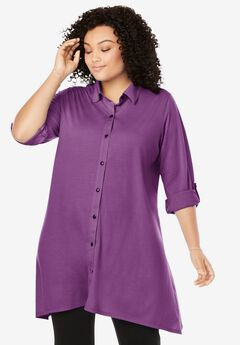 Button-Front Collared Maxi Tunic,