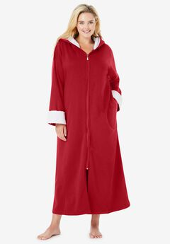 Sherpa-lined long hooded robe by Dreams & Co.®,