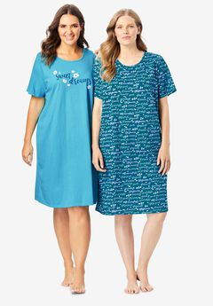 2-Pack Short-Sleeve Sleepshirt by Dreams & Co.®,