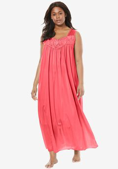 Long Tricot Knit Nightgown by Only Necessities®, CORAL RED, hi-res