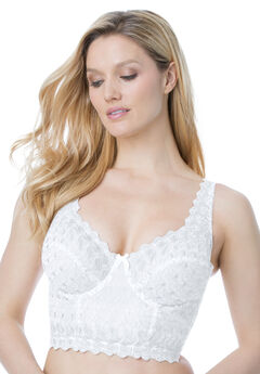 Embroidered Longline Underwire Bra by Amoureuse®, WHITE, hi-res