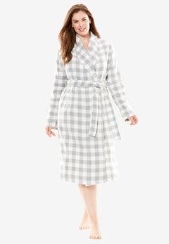 Flannel Wrap Robe by Dreams & Co.®, GREY BUFFALO CHECK, hi-res