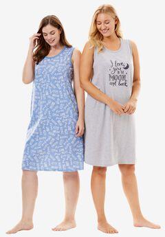 2-Pack Sleeveless Sleepshirts by Dreams & Co., HEATHER GREY MOON