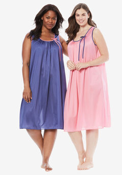 2-Pack Sleeveless Nightgown by Only Necessities®, GARDEN ROSE ROYAL NAVY