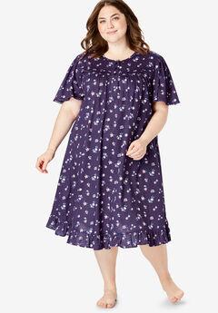 Short Floral Print Cotton Gown by Dreams & Co.®, RICH VIOLET FLORALS