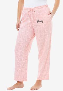 Knit Sleep Pants by Dreams & Co.®, FLAMINGO PINK DOT, hi-res
