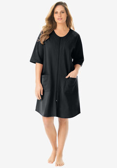 Short French Terry Zip-Front Robe by Dreams & Co.®, BLACK