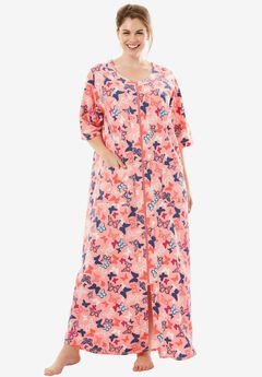 Long French Terry Robe by Dreams & Co.®, FLAMINGO PINK BUTTERFLY