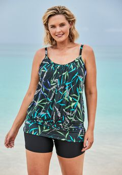 Blouson Tankini Top with Shirring,
