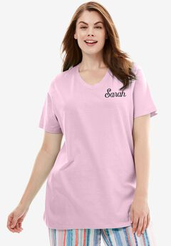 Personalized V-Neck Sleep Tee by Dreams & Co.®, PINK, hi-res