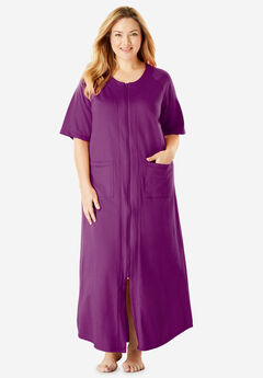 Long French Terry Zip-Front Robe by Dreams & Co.®, RADIANT ORCHID