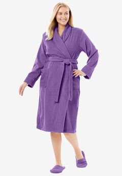 Short Terry Robe with FREE Matching Slippers by Dreams & Co®, VIOLET BLOOM, hi-res