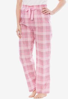 Cotton Print Pajama Pants by Dreams & Co.®, PINK PLAID, hi-res