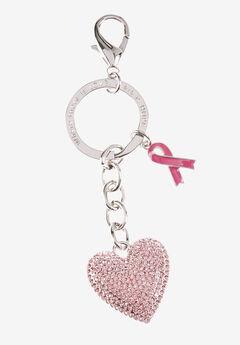 Heart Keychain , SILVER PINK RHINESTONE, hi-res