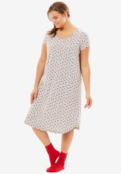 Short Scoopneck Sleepshirt with Free Socks by Dreams & Co.®, HEATHER GREY DOTS
