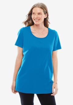 Perfect Short-Sleeve Scoop-Neck Tee,