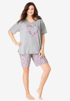 Knit PJ Short Set , HEATHER GREY FLORAL