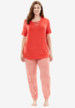 The Late-Night Jogger PJ Set by Dreams & Co®, CORAL RED STRIPE, hi-res