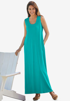 Sleeveless Scoop Neck Dress,