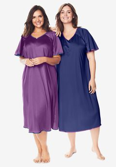 2-Pack Short Silky Gown by Only Necessities®, FRESH BERRY ULTRA BLUE