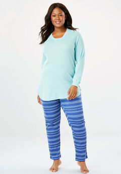 2-Piece Thermal Pajama Set by Dreams & Co.®, BLUE SAPPHIRE STRIPE, hi-res