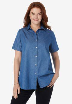 Short-Sleeve Denim Shirt,