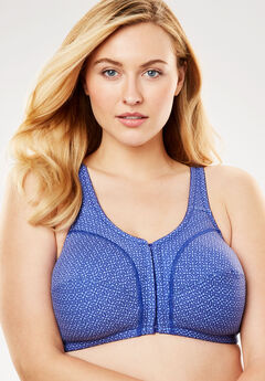 Cotton Front-Close Wireless Bra by Comfort Choice®, BLUE SAPPHIRE GEO