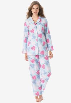 Classic Flannel Pajama Set , SKY BLUE HEARTS