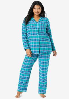 Classic Flannel Pajama Set by Dreams & Co.®, WATERFALL PLAID