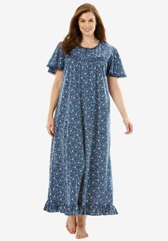 Long Cotton Gown by Dreams & Co®, ROYAL NAVY FLORAL