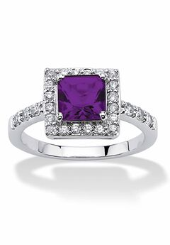 Sterling Silver Simulated Birthstone and Crystal Halo Ring,