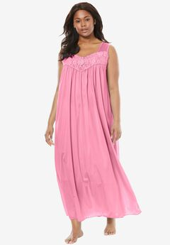 Long Tricot Knit Nightgown by Only Necessities®, GARDEN ROSE, hi-res
