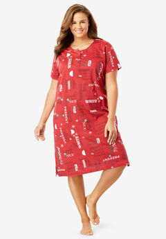 Short-Sleeve Henley Sleepshirt by Dreams & Co.®,