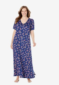 Long T-Shirt Lounger by Dreams & Co.®, EVENING BLUE PAISLEY