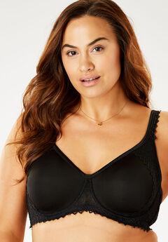 Lace-Trim T-Shirt Bra by Comfort Choice®, BLACK