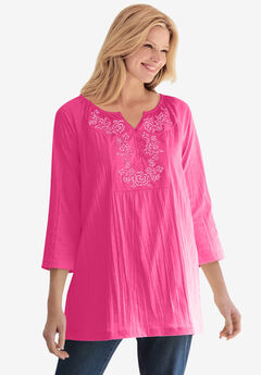 Embroidered Crinkle Tunic,