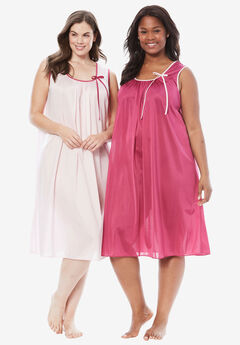 2-Pack Sleeveless Nightgown by Only Necessities®, BRIGHT BERRY PINK
