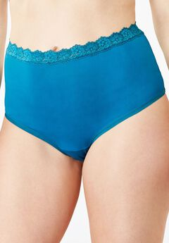 Lace-Trim Microfiber Full-Cut Brief by Comfort Choice®,