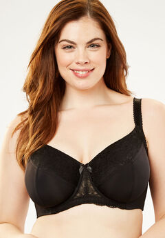 Full Coverage Lace-Trim Cup Underwire Bra by Amoureuse®, BLACK