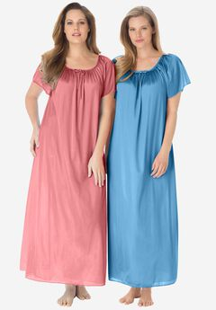 2-Pack Long Nightgown Set by Only Necessities®, FLAMINGO PINK CRYSTAL SEA, hi-res