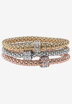 Goldtone 3 Piece Tritone Stretch Bracelet (5.5mm), Round Crystal, 8 inch Length,