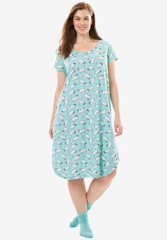Short Scoopneck Sleepshirt with Free Socks by Dreams & Co.®, AZURE CATS