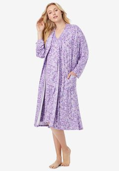 Knit Gown and Robe Set by Dreams & Co®, SOFT IRIS FLORAL