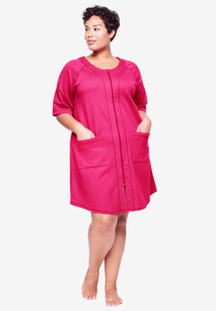 Short French Terry Zip-Front Robe by Dreams & Co.®, RADIANT PINK