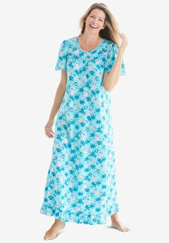 Long Floral Print Cotton Gown, CARIBBEAN BLUE ROSES
