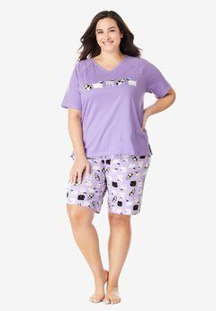 Knit PJ Short Set by Dreams & Co.®, SOFT IRIS DOGS