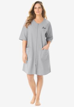 Personalized Short French Terry Robe by Dreams & Co.®, HEATHER GREY, hi-res