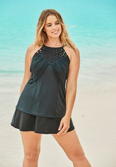 High-Neck Macrame Tankini Top,