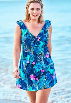Ruffle-Neck Swim Dress,